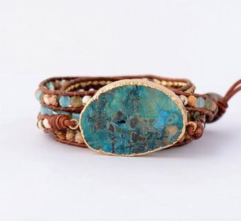 Leather Bracelet Unique Mixed Natural Stones
