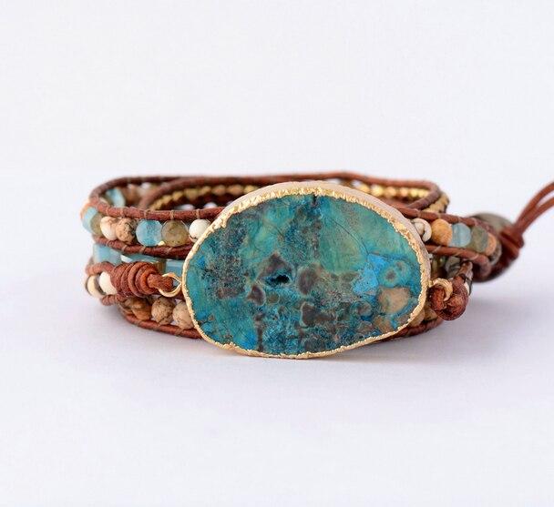 Bracelet mixte: pierres naturelles et cu ...