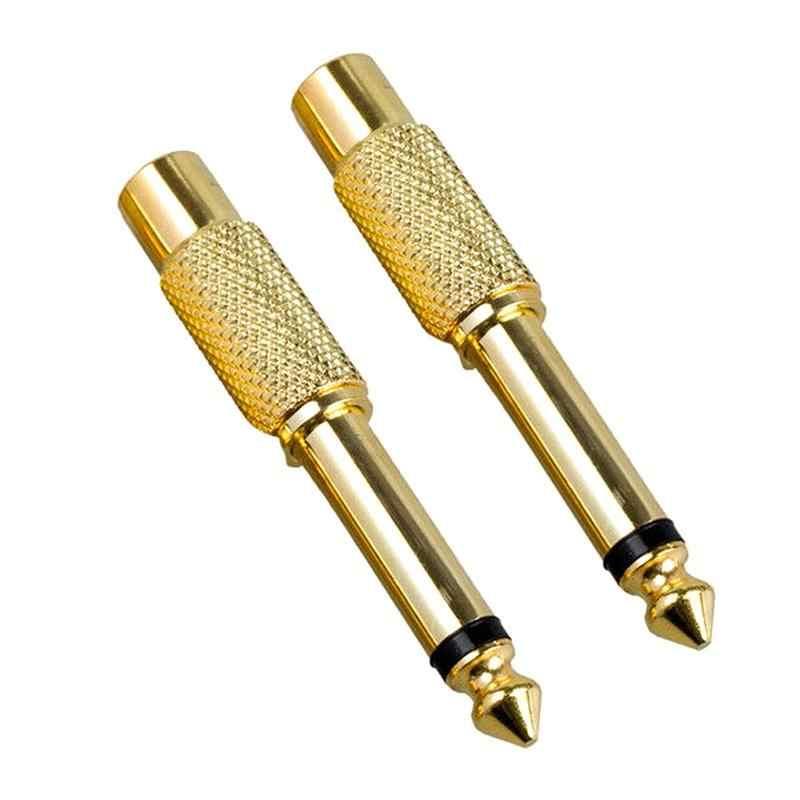 """2 sztuk 6.35mm 1/4 """"męski wtyczka mono do Rca gniazdo jack słuchawki Adapter kabel konwertera"""