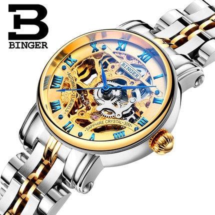 ФОТО Switzerland luxury women brand BINGER Watches Woman Retro Roman Numerals Hollow Skeleton Golden Tone Wristwatch Mechanical Watch