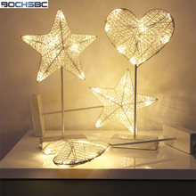 BOCHSBC Star Heart Lovely Shaped Night Lights ABS Warm White Protect Eyes Cartoon Desk Lamp Light for Children Baby's Bedroom youoklight 7w warm white salt lamp heart shaped wall decoration night light 120v 1pc
