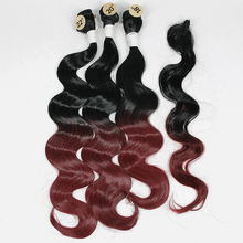 hot deal buy brazilian body wave 3 bundles with  lace closure ombre natural color synthetic weave hair extensions 4pcs/pack yxcherishair 240g