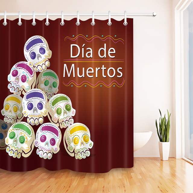 Novel Candy Gothic Skull Shower Curtains For Bathroom Waterproof Polyester Fabric Bath Product Curtain Hooks Set Home Decor