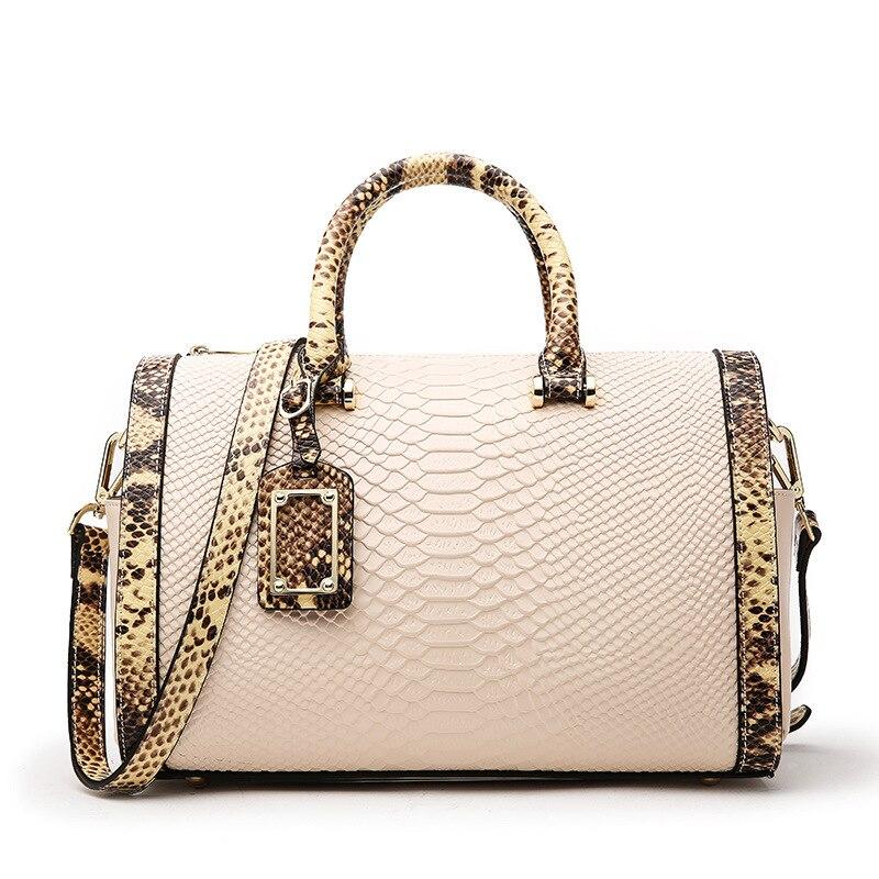 New Brand Design Serpentine Pattern Boston Handbag Genuine Leather Women s Fashion Shoulder Bag Female Messenger