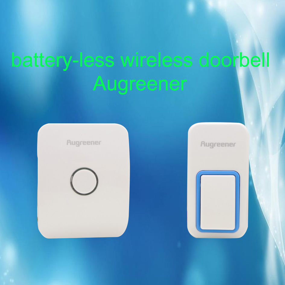 Battery Less Wireless Cordless Door Bell Self-powered Waterproof Push Button Plug in Chime Unit 120M Bell 25 Ring Augreener bell 2 push buttons 1 doorbell remote control wireless cordless door bell 38 ring tones no battery self powered button door bell