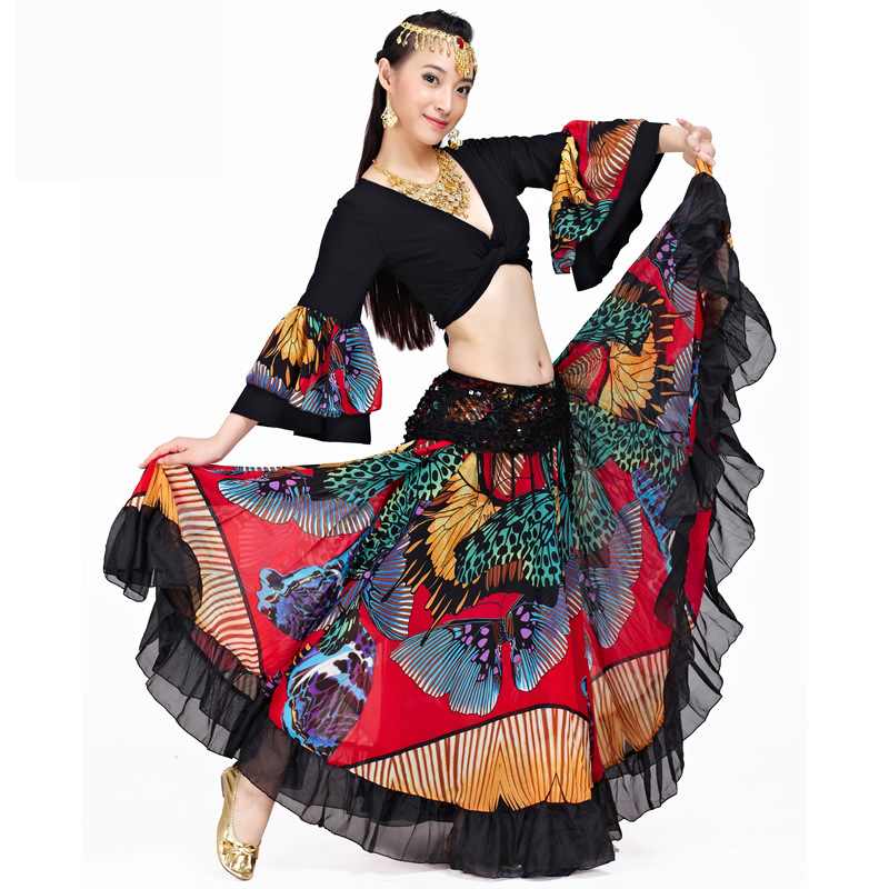 720 Degrees Tribal Belly Dance Performance Women Outfit 2 Pieces Set Top And Skirt Butterfly Pattern Full Circle Gypsy Costumes