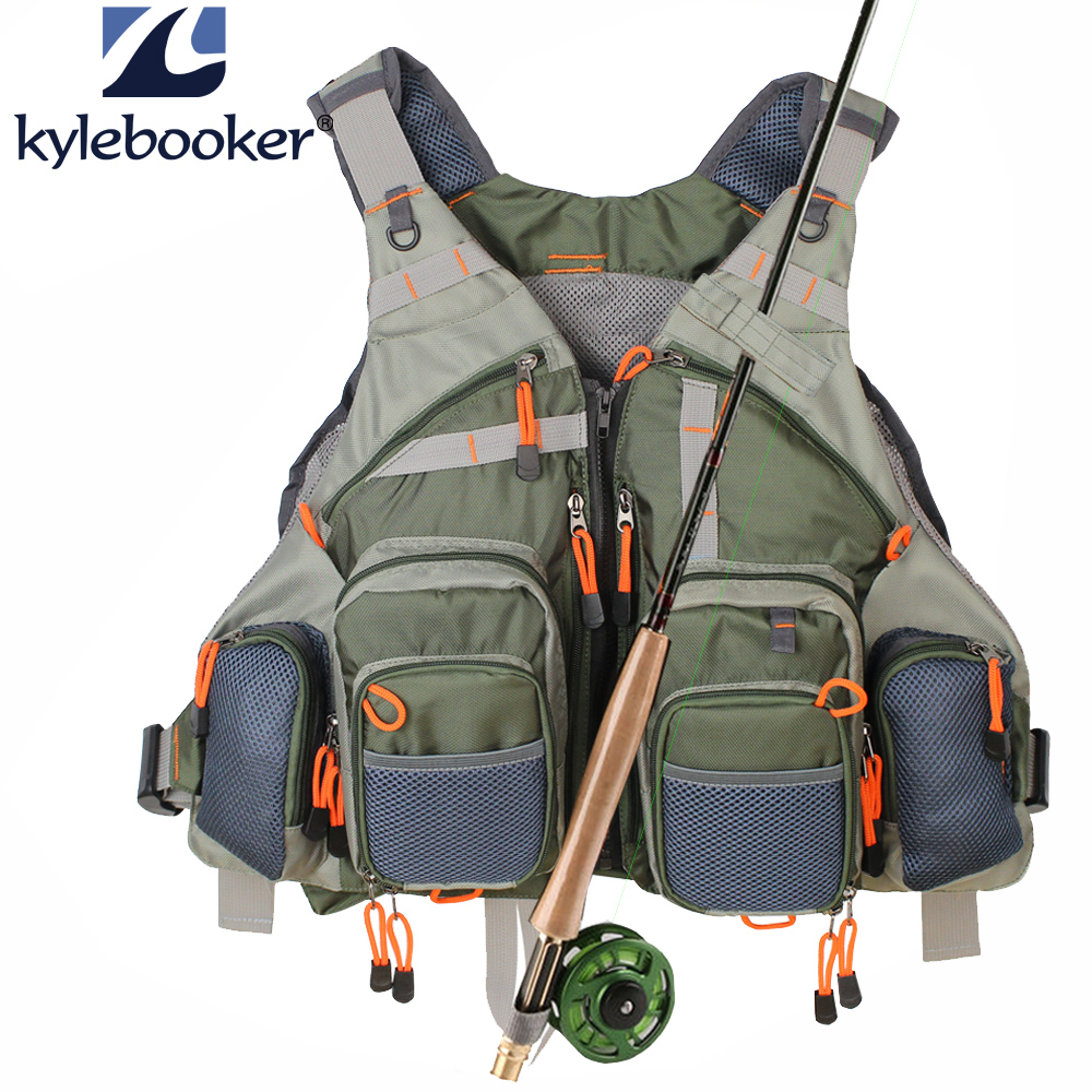 New Men's Army Green Fly Fishing Vest Justerbar Utendørs Jakt Klær Mesh Vest Fishing Vest Fisketøy bag