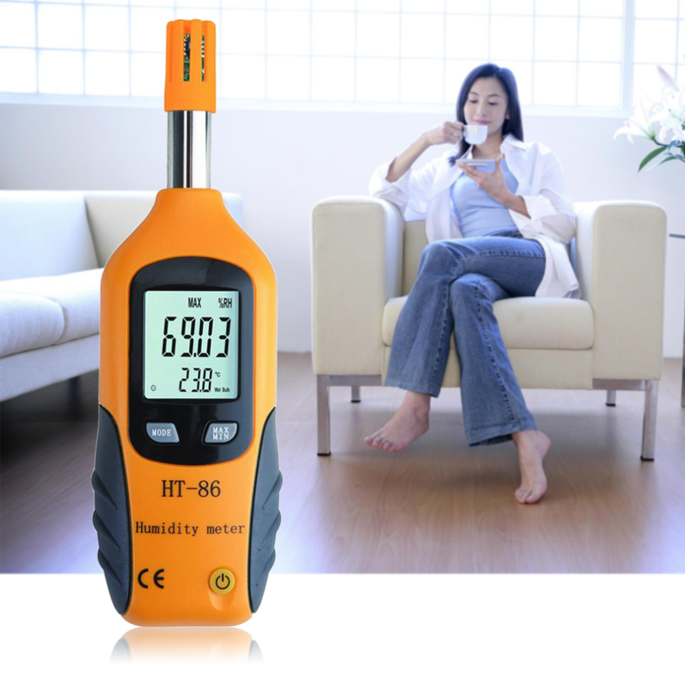 New HT-86 Professional Digital LCD Screen Display Indoor Outdoor Thermometer Hygrometer Temperature Humidity Meter White & Gray kt201 4 5 4 3 lcd digital indoor outdoor thermometer humidity meter white 1 x aa