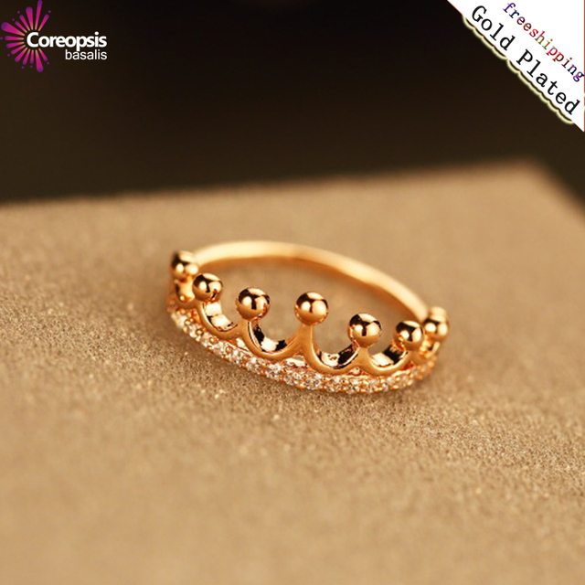 2017 real rose Gold zircon temperament Crown Ring women Romantic