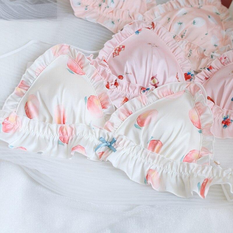 SP&CITY Cartoon Lolita Sweet Strawberry Bra Set Bow Wavy Lace Bralette Seamless Brassiere Lingerie Silk Satin Briefs Underwear