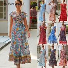 цена на Floral Print Boho Dress Summer 2019 Red Split Boho Beach Dress Women Short Sleeve Wrap A Line Bohemian Style Long Dresses Ladies