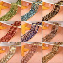 1 yarda/pieza 19 Cadena de cristal de colores de diamante de imitación, base dorada para coser en cadenas de la taza para diy bolsas de ropa decoraciones