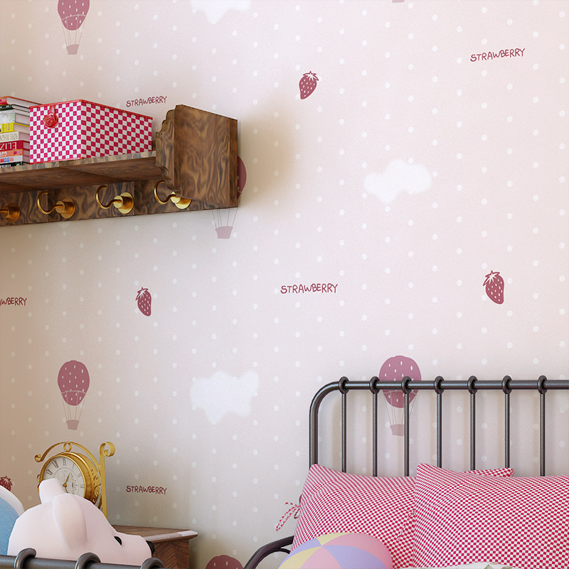 beibehang Non-woven minimalist modern parachute strawberry children's room bedroom wallpaper shop for living room backdrop beibehang 3d european modern minimalist vertical stripes non woven wallpaper shop for living room bedroom tv backdrop