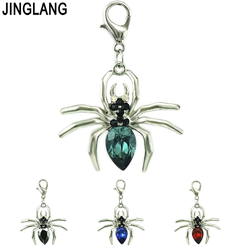 JINGLANG 12 pieces/Lot Animal Lobster Clasp Charms Dangle Plastic Crystal Spider DIY Charms For Jewelry Making Accessories