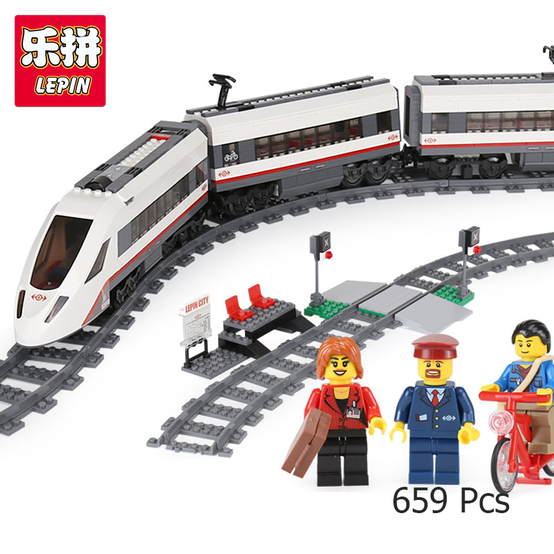 Lepin 02010 High-speed Passenger Train Set Building Blocks Bricks boys girls gift Compatible with Lego Technic 60051 610pcs lepin 02010 rc high speed passenger train city creator trains citi building bricks blocks toys compatible 60051 diy