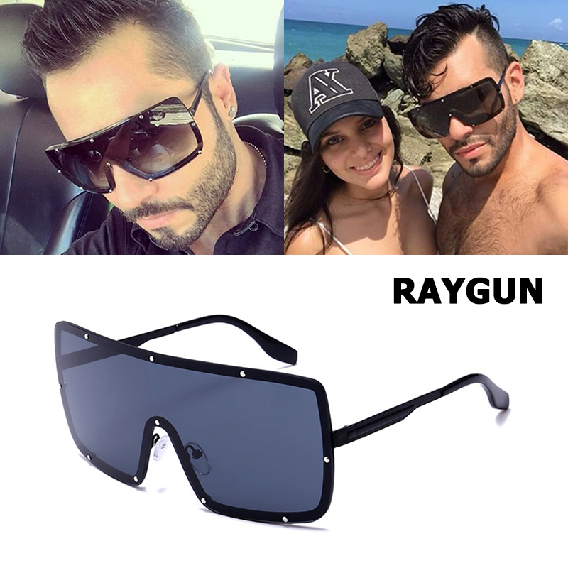 JackJad 2018 Fashion Square escudo RAYGUN remaches estilo gafas De Sol hombres Cool Color espejo marca De diseño gafas De Sol Oculos De Sol