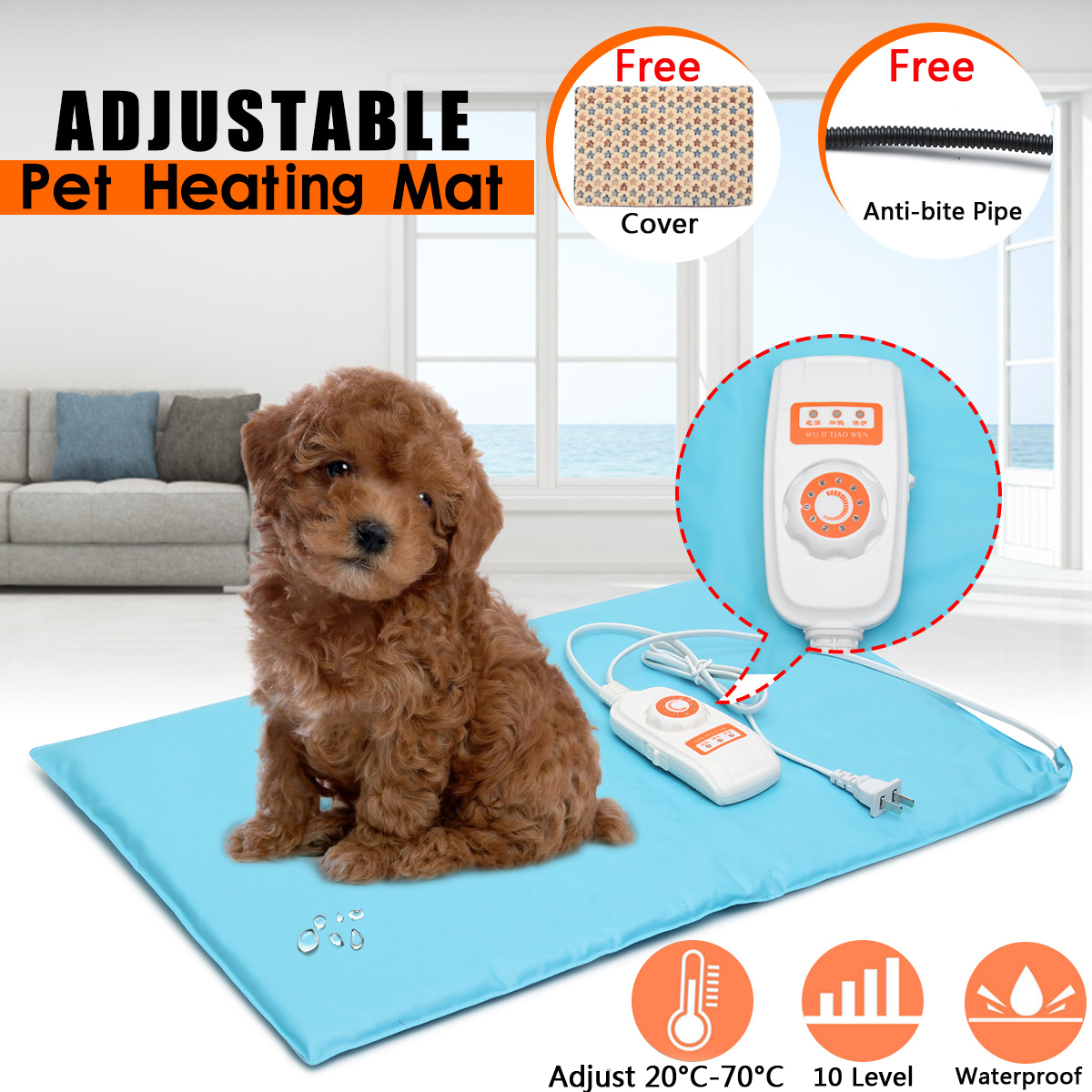 Warmtoo 10 Level 40x60cm Portable Electric Heater Waterproof Adjustable Heated Mat Pet Heating Pad Winter Heated Gloves Carpet 5v usb electric clothes heater sheet adjustable temperature winter heated gloves for cloth pet heating pad waist warmer tablet