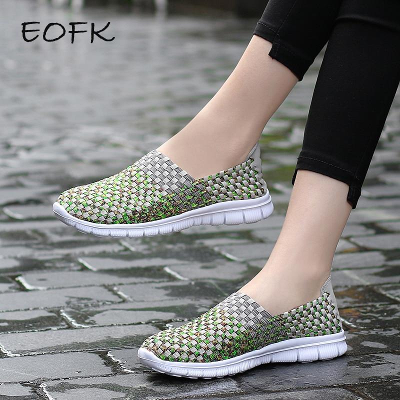 EOFK  Summer Breathable Women Loafers Woven Shoes Handmade Elastic Woven Flat Slip On Shiny Green Nylon Shoes Woman