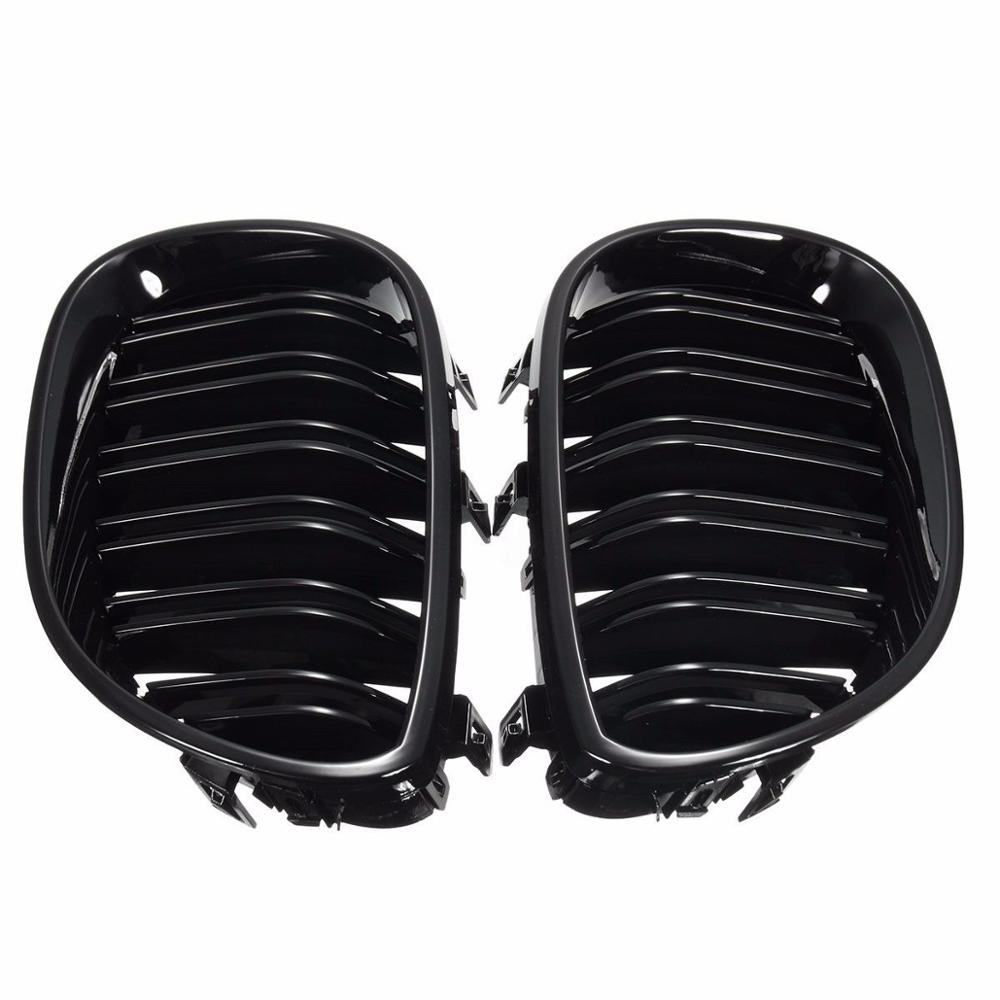 2pcs Front Kidney Grilles Grill Gloss Black ABS Double Line Grille For <font><b>BMW</b></font> <font><b>E60</b></font> E61 <font><b>5</b></font> <font><b>SERIES</b></font> 2003-2009 image