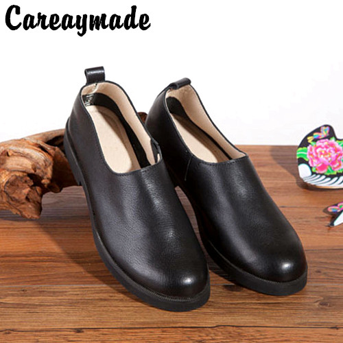 2016 Spring on the new literary Sen female simple Genuine leather women flat shoes  high-quality lazy pedal shoes,Black&Coffee