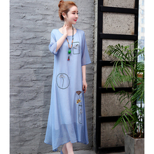 Spring and summer new style cotton linen cropped sleeve dress Loose embroidered fake two-piece national wind
