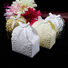 25Pcs Golden/Ivory/Sliver Printed Flower Wedding Favors Candy Boxes,7x4x9cm Christmas Gift Boxes ,Event Party Supplies Candy Box