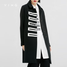 VING 2017 Women Coat Pure Color Single Wool Blends Big Size Women Thickened Coat OL Style Shirts Long Sleeve Female