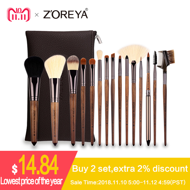 все цены на Zoreya Brand 15pcs Walnut Synthetic Hair Makeup Brushes Lip Liner Foundation Concealer Make Up Brushes Tools Essential Sets