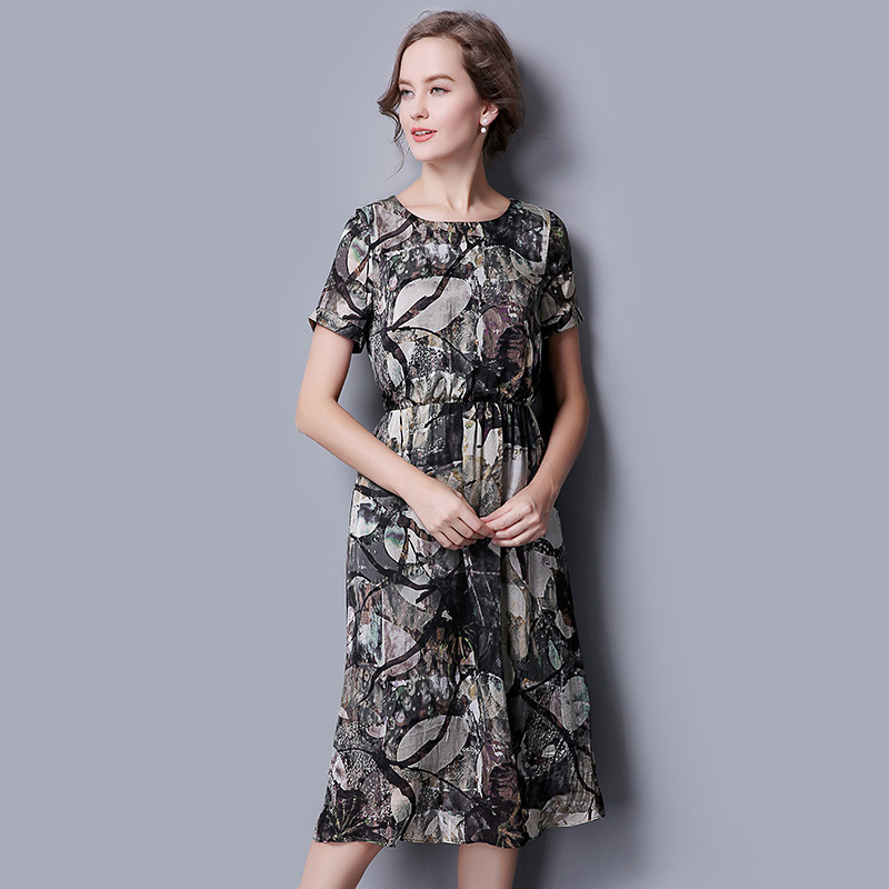 100 Silk Dress Printed Pattern Summer Dress font b Women b font a dress font b