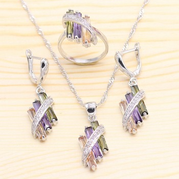 925 Silver Jewelry Sets For Women Multicolor Cubic Zirconia Necklace Pendant Earrings Rings Free Gift Box