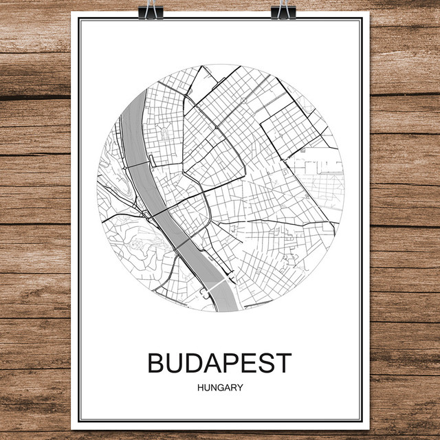 Budapest Hungary Famous World City Street Map Print Poster Abstract