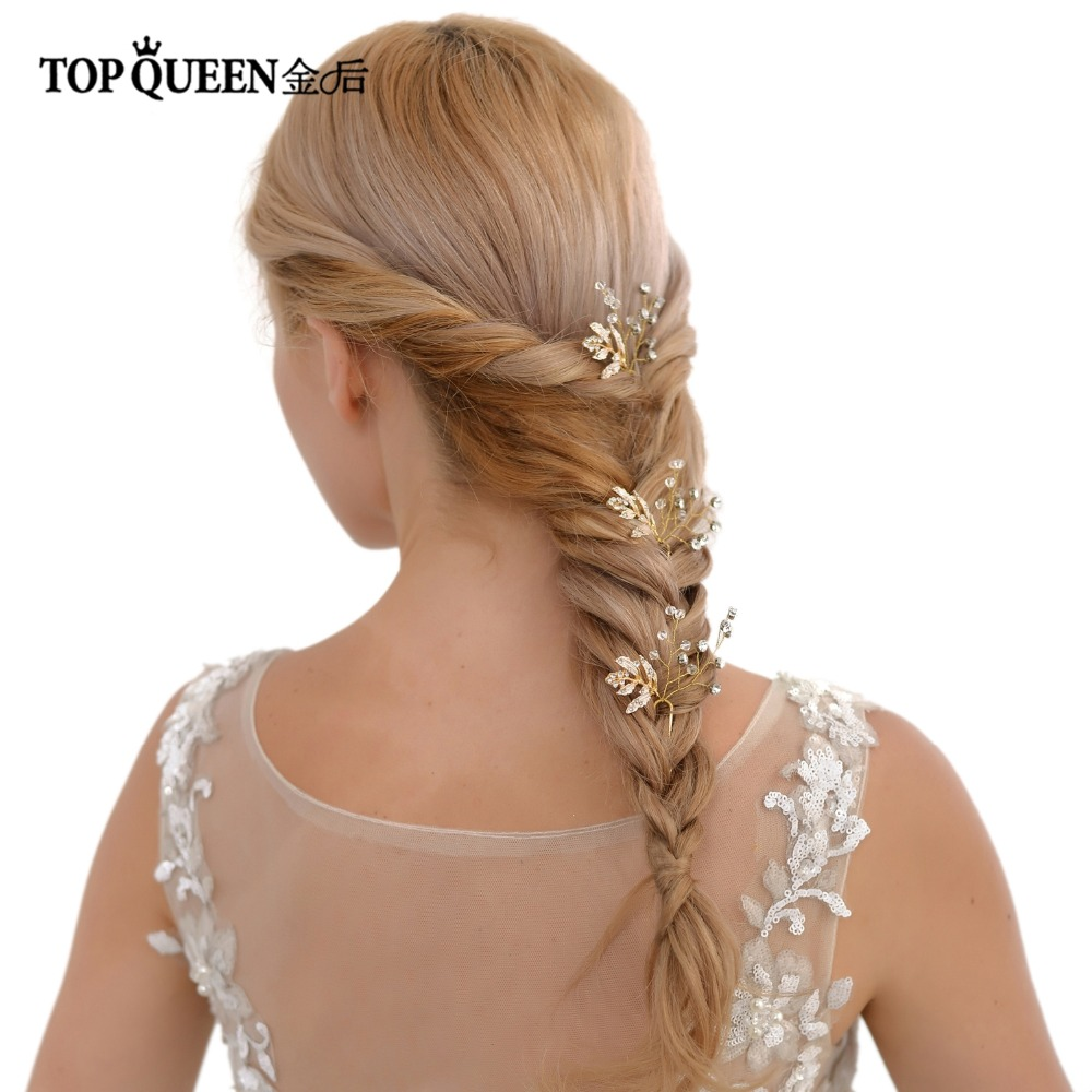 TOPQUEEN HP61 Bridal Headpieces Accessories Headdress With Diamond Gold Girl Tiara Princess Fast Shipping Wedding Hair Pins