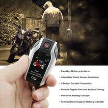 Two Way Motorcycle Scooter Alarm System Shock Sensor Anti-theft Burglary Security Alarm Remote Engine Start 5meter Auto-lock