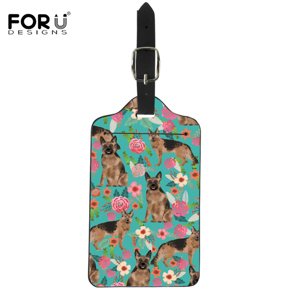 FORUDESIGNS German Shepherd Floral Printing Luggage Tag Men Leather ID Address Holder Portable Label Cute Travel Accessories