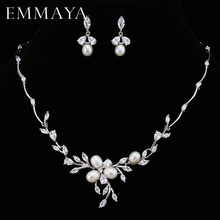 EMMAYA Luxury Freshwater Pearl Bridal Jewelry Sets Silver-Color Earring Necklace Set Wedding Jewelry Parure Bijoux Femme(China)