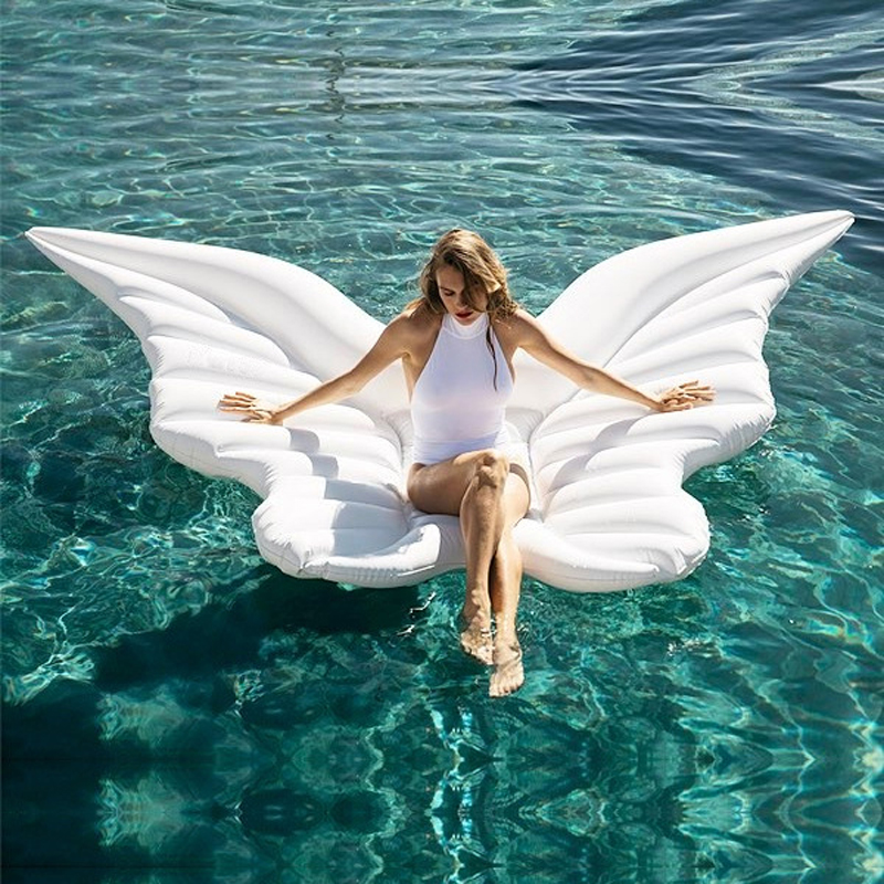 250cm 98inch Giant Angel Wings Inflatable Pool Float Gold White Air Mattress Lounger Water Party Toys Lie-on Swimming Ring boia 200cm giant champagne bottle inflatable pool float ride on swimming ring for adult water party toys air mattress boia ha014