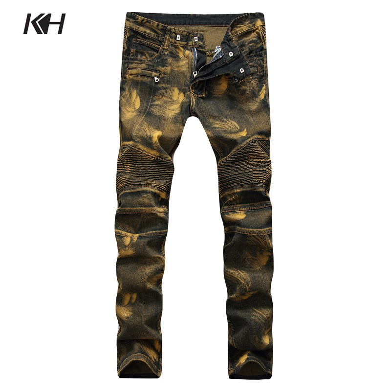 KH High Quality Fashion Men's Jeans Pleated Motorcycle Biker Denim Pants Men Slim Elastic Yellow Punk Trousers Plus Size 28~42