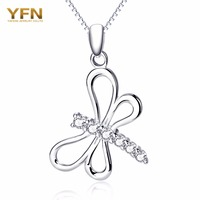 YFN 925 Sterling Silver Lovely Jewelry CZ Crystal Dragonfly Necklace Pendant Chain Collar Jewelry Christmas Gifts