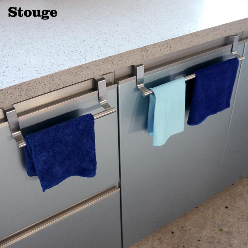 Stouge 1pc Stainless Steel Bathroom Towel Stand Rack Kitchen Cupboard Hanger Cabinet Door Chest Hanging Sundries Storage Shelf