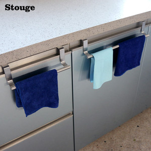 Image 1 - Stouge 1pc Stainless Steel Bathroom Towel Stand Rack Kitchen Cupboard Hanger Cabinet Door Chest Hanging Sundries Storage Shelf