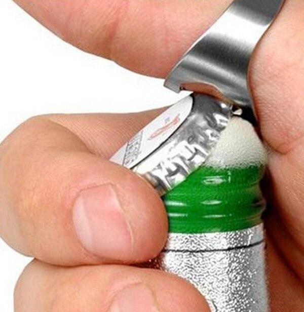 Уход... новых 1 шт 22 мм Нержавеющаясталь открывалка для пива бутылки уникальный творческий Универсальный Нержавеющаясталь палец кольцо-Фо...