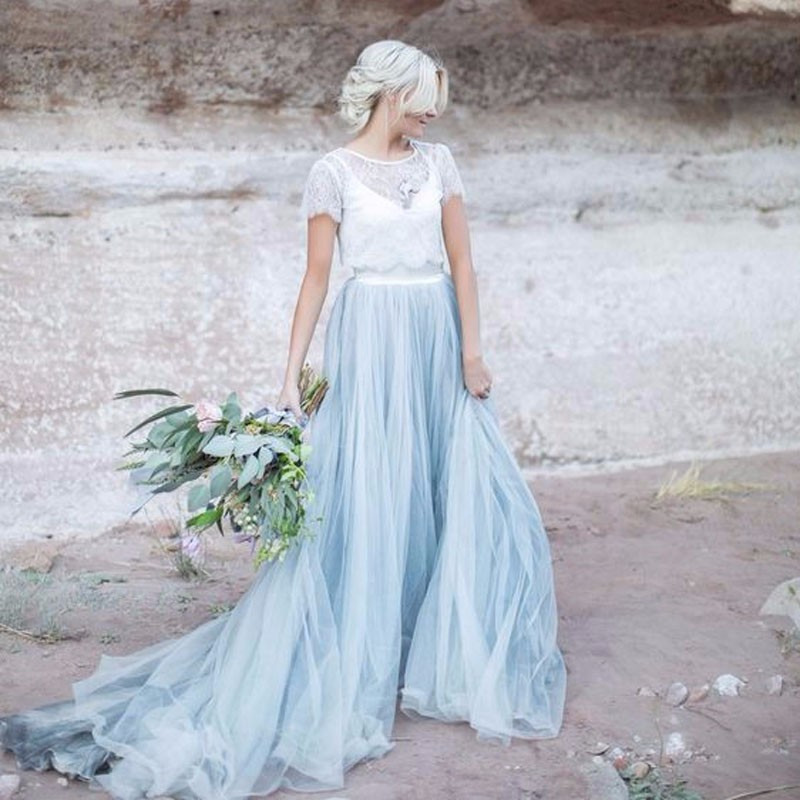 Sky blue 2 pieces tulle skirts with lace top bridal for Wedding dresses with tulle skirts