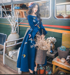 Image 2 - Women Wool Blue Dress Fashion 2017 Fall Winter Lotus Sleeve Lace Embroidery Butterfly Sweet Women Dress