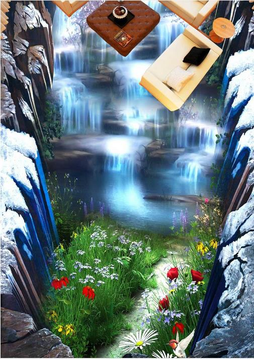 3d pvc flooring waterproof wallpaper landscape custom 3d flooring Waterfalls self adhesive wallpaper 3d floor murals bathroom high quality 3d flooring vinyl custom 3d floor bathroom landscape non slip wear thickend self adhesive wallpaper