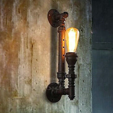 American country pipe retro loft vintagewall lamp sconces  industrial home lighting fixture for living room free shipping black color pipe retro loft vintage iron shade wall lamp sconces industrial home lighting fixture for living room free shipping