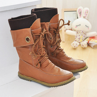2016 Autumn Winter New Women Ankle Boot Female Fashion Casual Boots Korean Style Lace Up Stitching