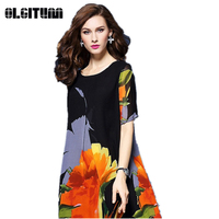 OLGITUM Long Dress Women Ankle Length Loose Short Beach Summer Dresses Floral Print Vintage Maxi Vestidos