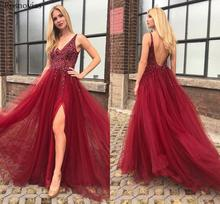 Sexy High Split Prom Dresses 2019 V Neck Backless Sweep Train Beaded Long Evening Party Dresses Formal Gowns Vestido De Fiesta