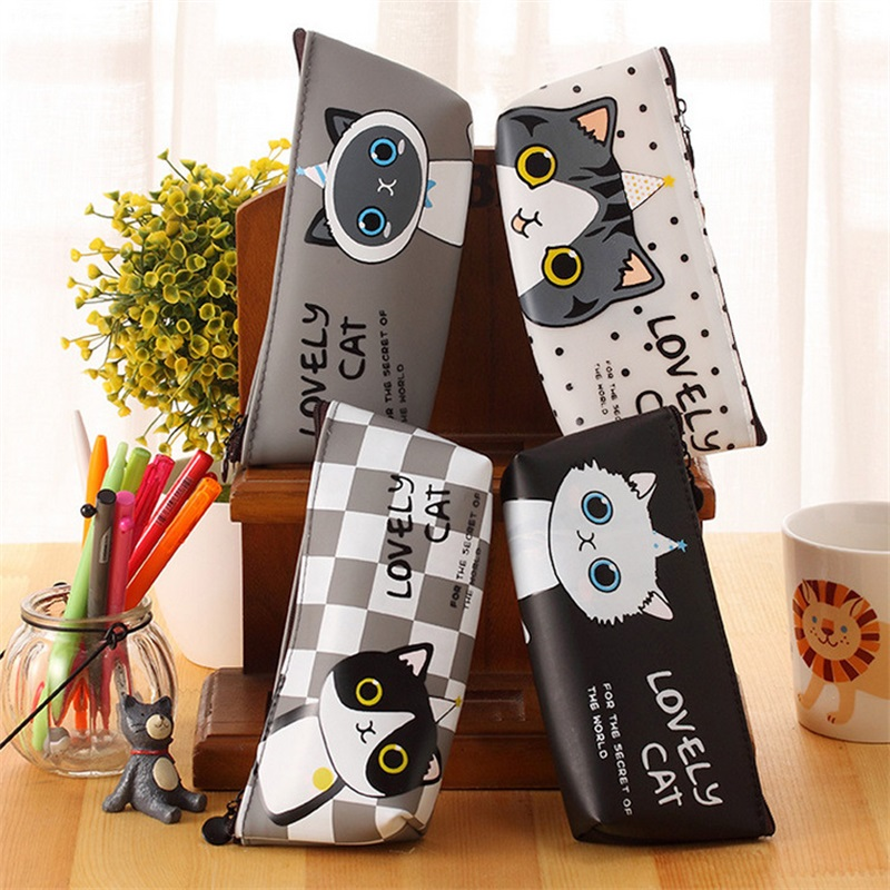 (1Pc/Sell) Kawaii cat Pencil Case Cartoon School Supplies Bts Stationery Gift Estuches Cute Pencil Box Pencilcase Pencil Bag