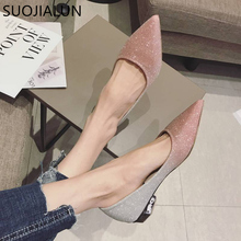 SUOJIALUN Spring Autumn Women Shoes Pointed Toe Ballet Flats Fashion Sequined Cloth Slip on Ladies Flat Zapatos Mujer